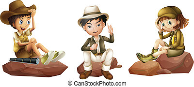 joven, exploradores, tres