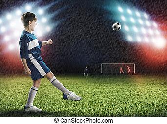 joven, fútbol, campeón
