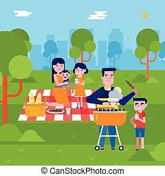 joven, familia caucásica, tener un picnic, en el parque