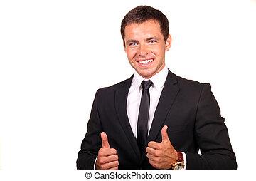 joven, feliz, hombre de negocios, yendo, pulgares arriba,...