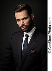 joven, fondo negro, retrato, hombre de negocios, guapo