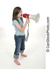 joven, gritos, 3, por, niña, megáfono