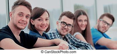 joven, grupo de las personas, posición, togethe