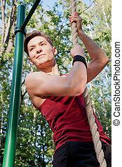 joven, hacer, ejercicio salud
