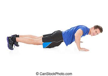 joven, hacer, pushups