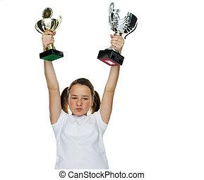 joven, hembra, campeón, levantar, trofeo