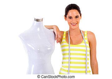joven, hembra, diseñador de modas