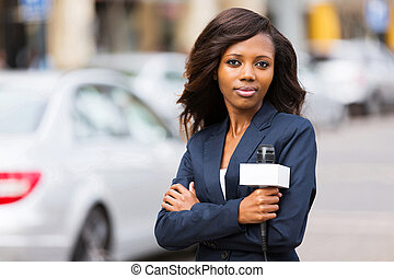 joven, hembra, noticias, africano, reportero