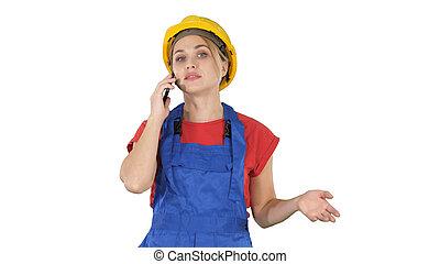 joven, hembra, trabajador, hablar teléfono, mientras que...