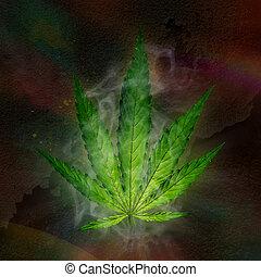 joven, hoja cannabis, marijuana.