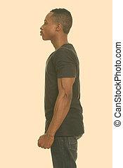 joven, hombre africano, opinión del perfil