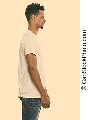 joven, hombre africano, perfil, posición, vista