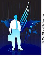 joven, hombre de negocios, en, mapa del mundo, plano de fondo