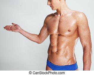 joven, hombre, muscular, torso, en, ropa interior