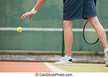 joven, jugador del tenis, sobre, para servir