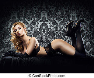 joven, lenceria, erótico, mujer, sexy