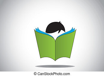 joven, libro, lectura, abierto, elegante, niño