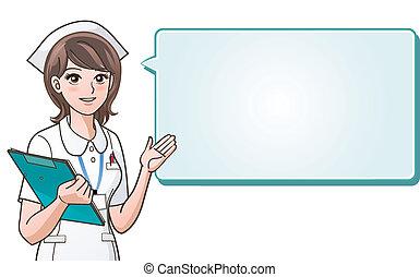 joven, lindo, enfermera, proporcionar, informat