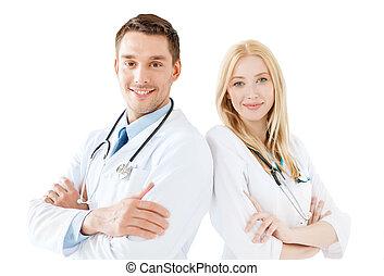 joven, médico masculino, y, hembra, enfermera, en, hospital