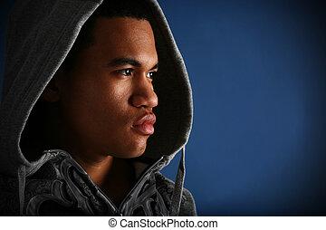 joven, macho afroamericano, llave baja, retrato