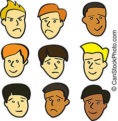 joven, macho, caricatura, caras