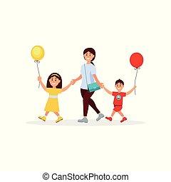 joven, madre, ambulante, con, ella, poco, children., mamá, hijo, y, daughter., niño y niña, tenencia, globos, en, hands., familia , day., feliz, childhood., colorido, plano, vector, diseño