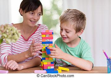 joven, madre, porción, ella, hijo, construya, un, torre