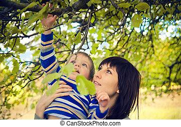 joven, madre, tenencia, un, bastante, niño pequeño, en, naturaleza, debajo, el, árboles