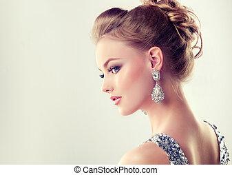 joven, magnífico, niña, en, un, perfil, vestido, en, vestido...
