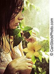 joven, maravilloso, belleza, con, flor