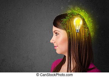 joven, mente, pensamiento, de, verde, eco, energía, con, bombilla