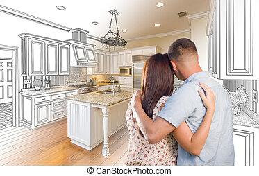 joven, militar, pareja, dentro, costumbre, cocina, y, diseño, dibujo, combinación