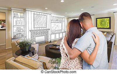 joven, militar, pareja, dentro, costumbre, habitación, y, diseño, dibujo