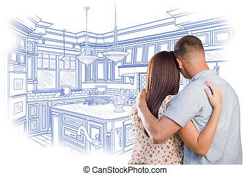 joven, militar, pareja, el mirar encima, costumbre, cocina, diseño, dibujo