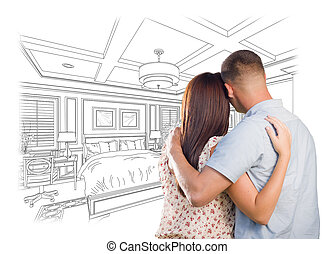 joven, militar, pareja, el mirar encima, costumbre, dormitorio, diseño, dibujo