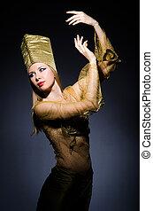 joven, modelo, personificación, belleza, egipcio