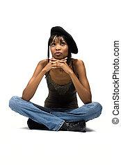 joven, muchacha americana africana