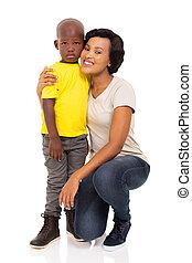 joven, mujer africana, y, hijo
