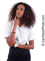 joven, mujer americana africana, mirar hacia arriba