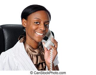 joven, mujer de negocios, por teléfono