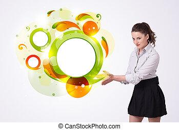 joven, mujer de negocios, presentación, resumen, copyspace