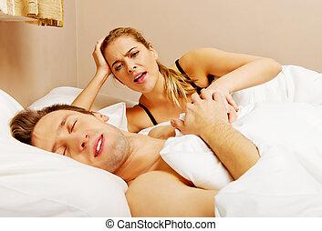 joven, mujer enojada, hablar, ella, sueño, marido