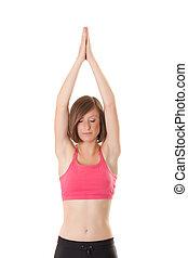 joven, mujer hermosa, elaboración, yoga