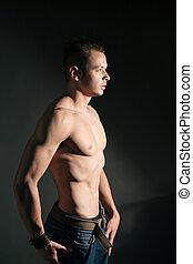 joven, muscular, hombre