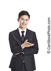 joven, negocio asiático, ejecutivo, elaboración, un, invitación