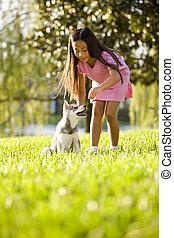 joven, niña asiática, entrenamiento, perrito, para sentarse