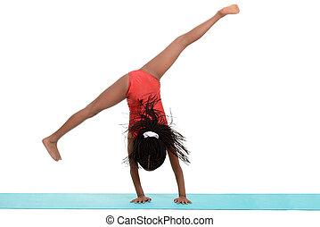 joven, niña negra, hacer, gimnasia