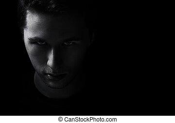 joven, oscuridad, negro, adulto, descolorarse, retrato, hombre