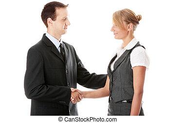 joven, pares del negocio, apretón de manos