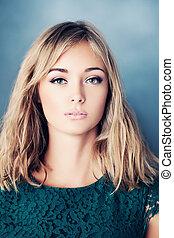 joven, pelo rubio, woman., joven, beauty., moda, retrato